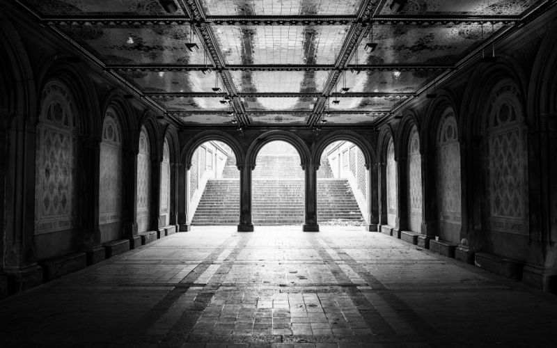 architecture New York City grayscale arches staircase wallpaper