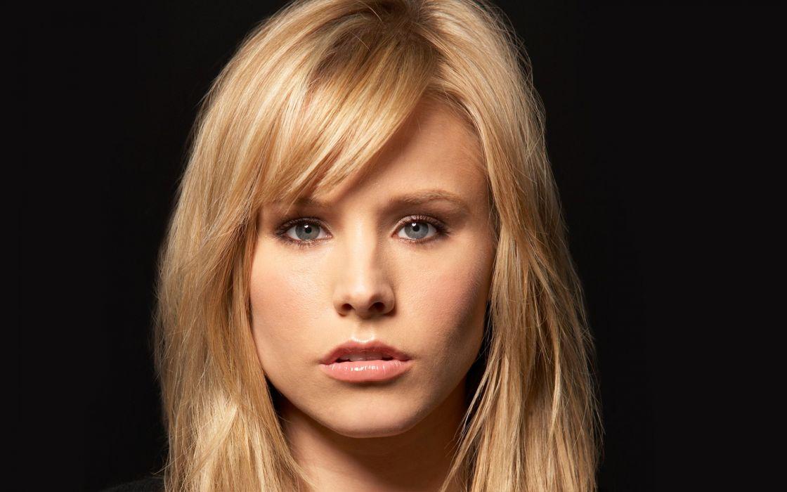 blondes women Kristen Bell actress celebrity faces black background wallpaper