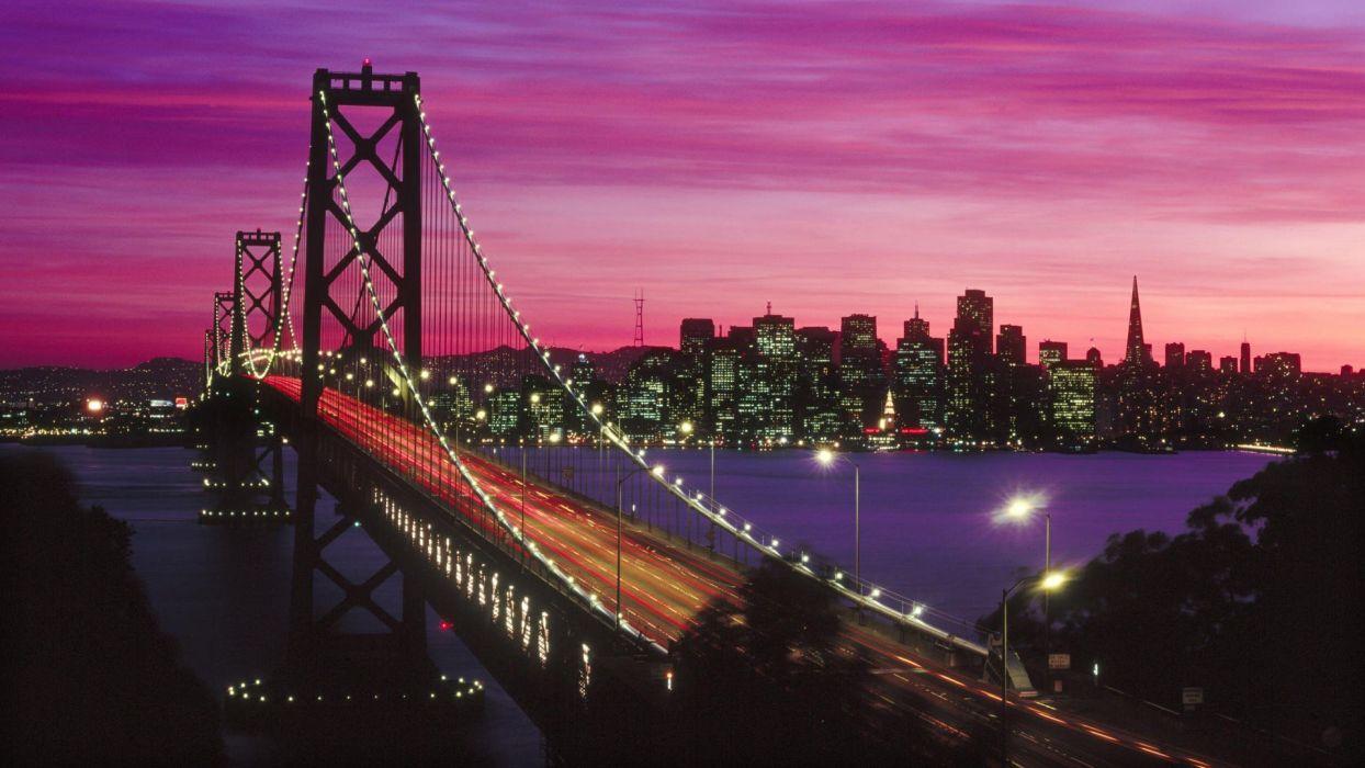sunset California San Francisco Bay Bridge wallpaper