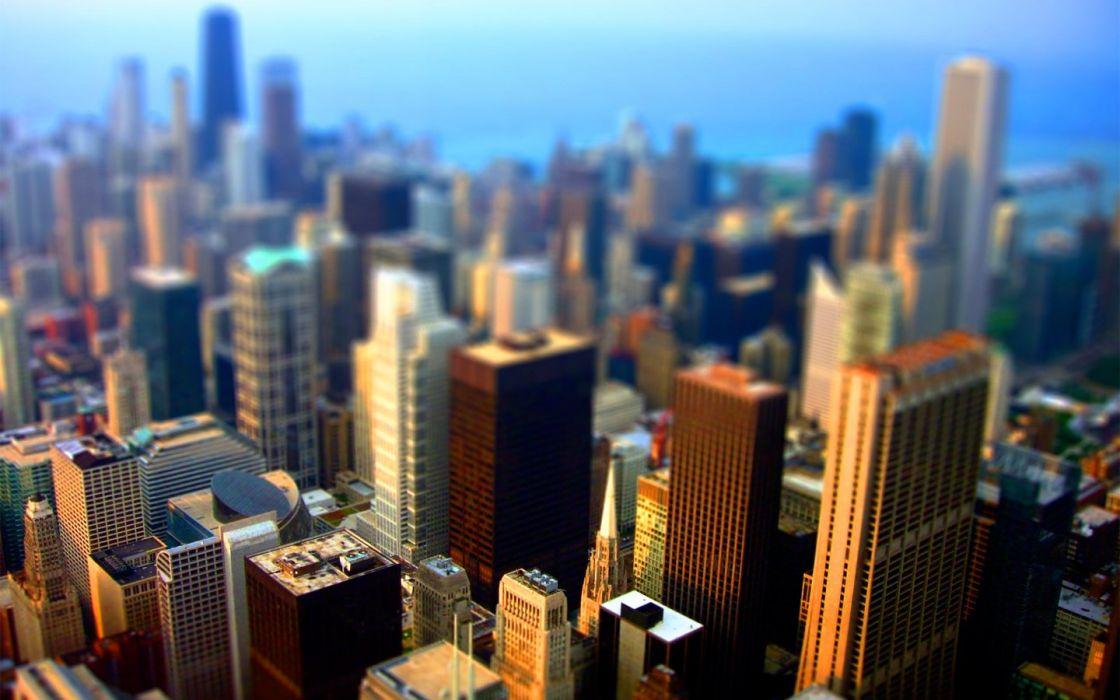 cityscapes Chicago architecture buildings tilt-shift wallpaper