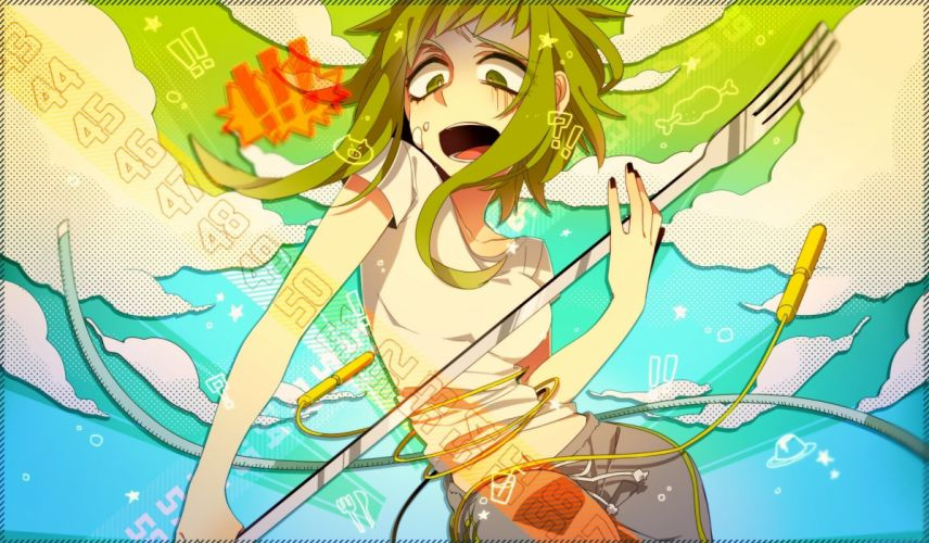 pants clouds Vocaloid long hair green eyes numbers green hair t-shirts open mouth Megpoid Gumi forks anime girls nail polish wallpaper
