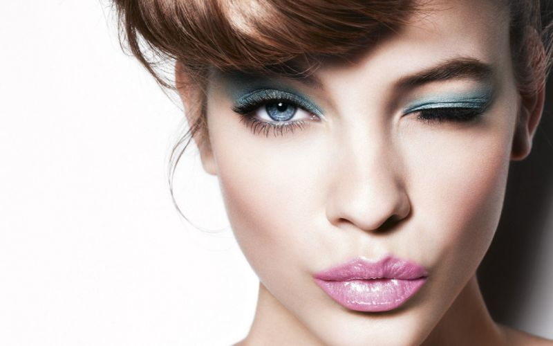 women short hair wink faces wallpaper