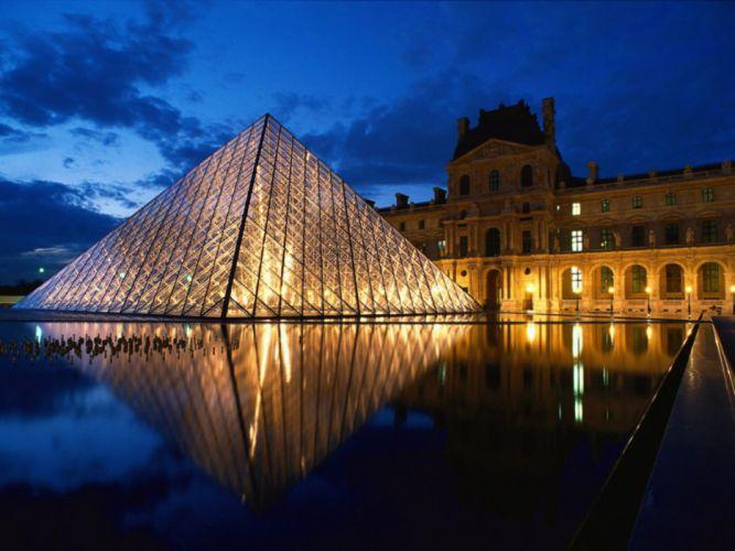 Louvre Pyramid Glass Paris France Europe museum city night wallpaper