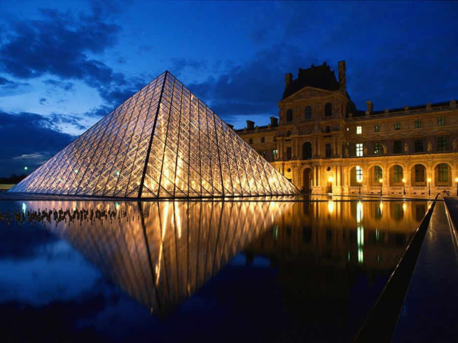 Louvre Pyramid Glass Paris France Europe museum city night wallpaper