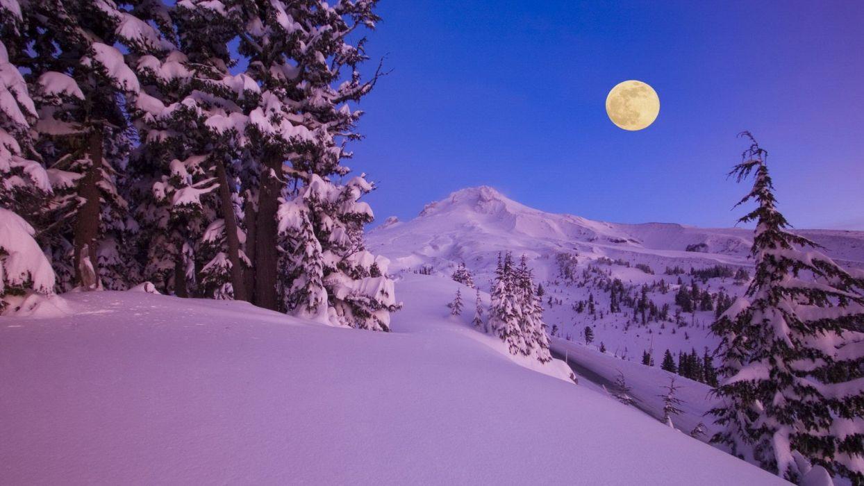 dawn Moon Oregon Mount wallpaper