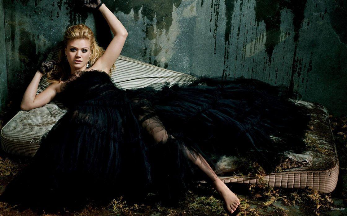 blondes women black celebrity Kelly Clarkson singers wallpaper