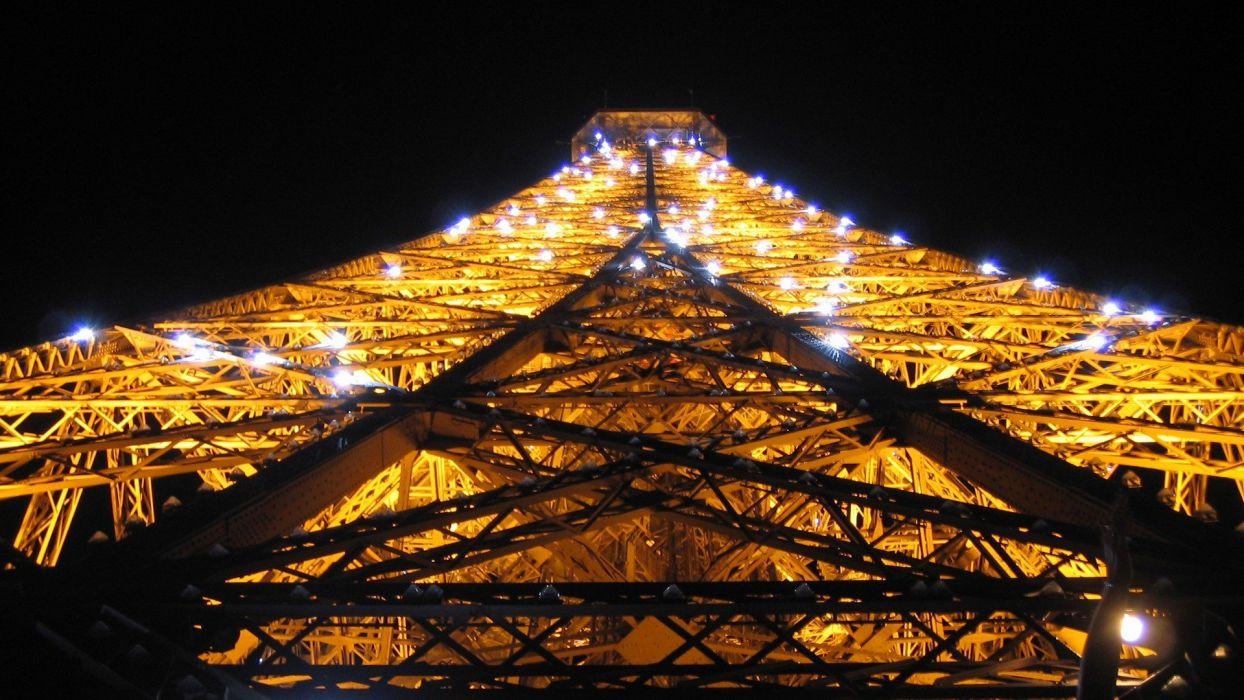 Eiffel Tower Paris lights illuminated wallpaper