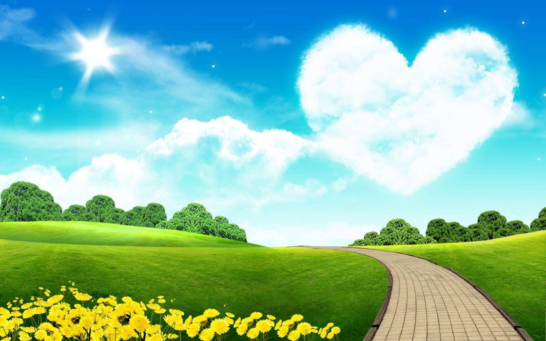 green Sun yellow grass roads bricks hearts wallpaper