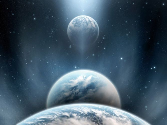 clouds outer space stars planets wallpaper