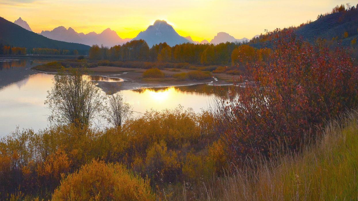 autumn multicolor Wyoming Grand Teton National Park National Park wallpaper
