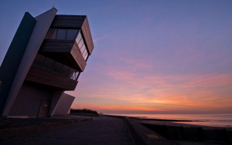 sunset coast architecture buildings modern wallpaper