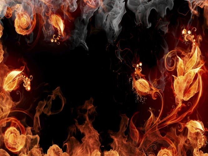abstract flowers fire wallpaper