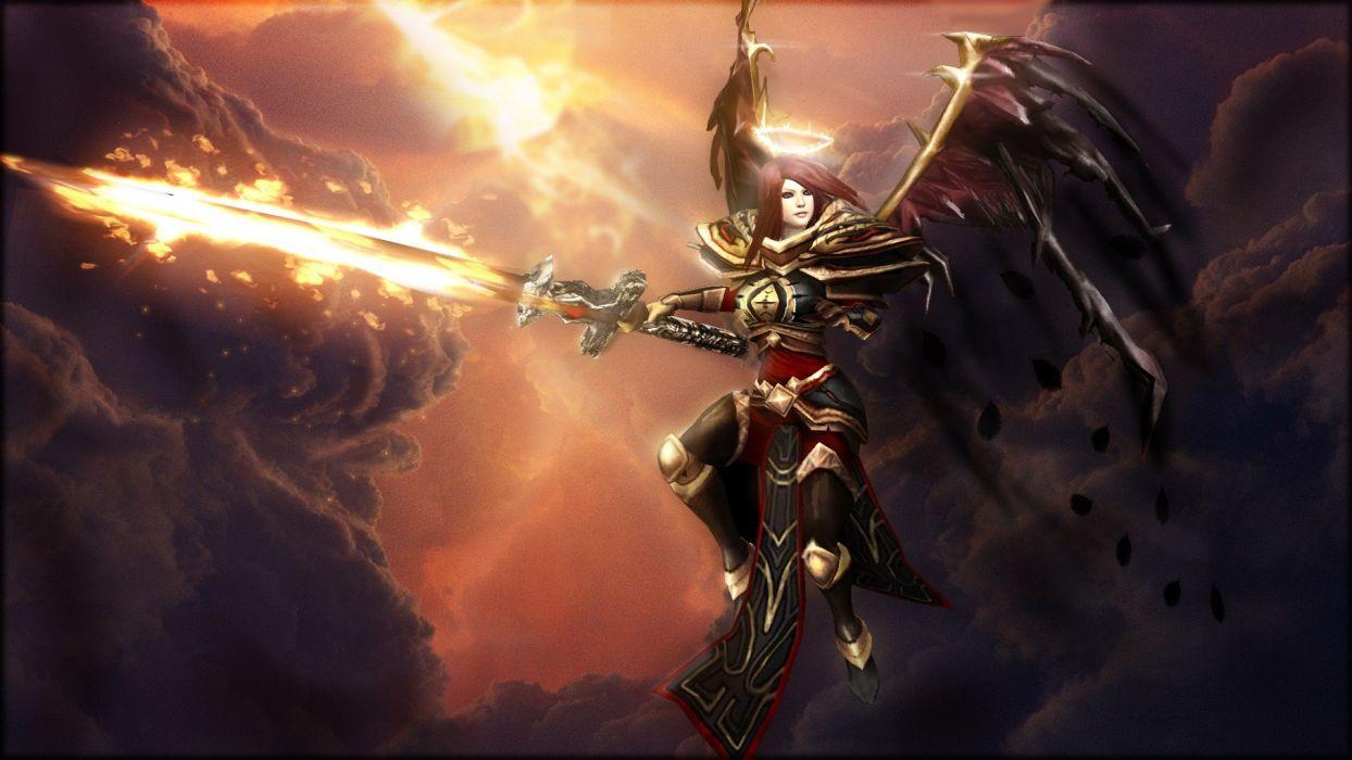 angels clouds wings Sun Halo League of Legends elite Kayle swords crimson wallpaper