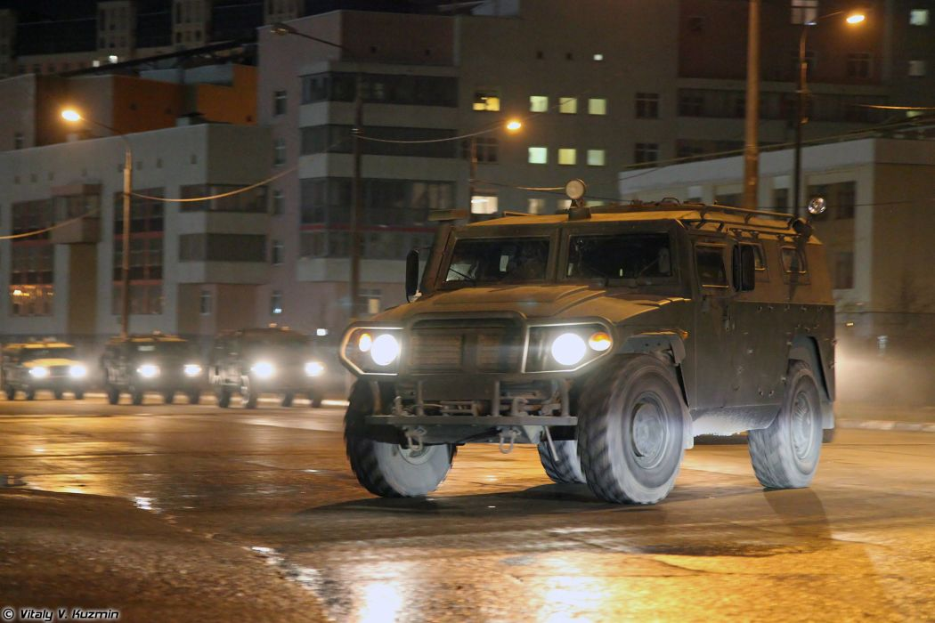 Parade vehicles march from Alabino to Moscow night Russia russian military army 4x4 GAZ-233014 Tigr 4000x2667 wallpaper