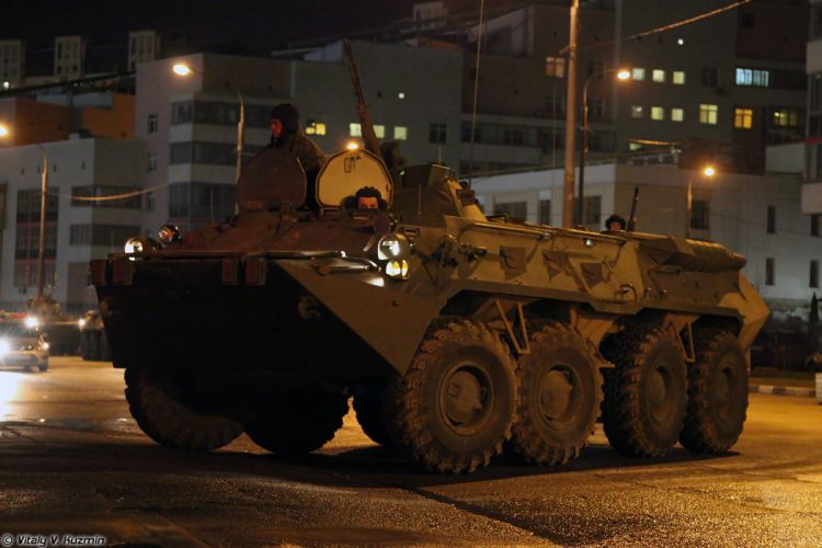 Parade vehicles march from Alabino to Moscow night Russia russian military army armored BTR-80 APC 2 4000x2667 wallpaper