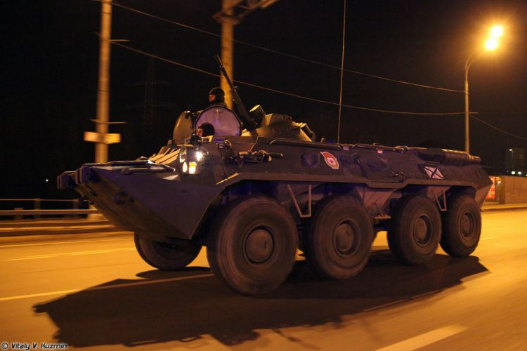 Parade vehicles march from Alabino to Moscow night Russia russian military army armored BTR-80 APC 4000x2667 wallpaper