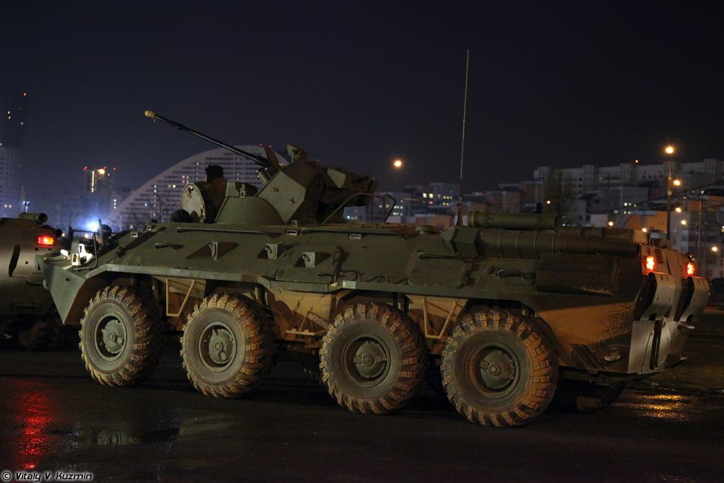 Parade vehicles march from Alabino to Moscow night Russia russian military army armored BTR-82A APC 3 4000x2667 wallpaper