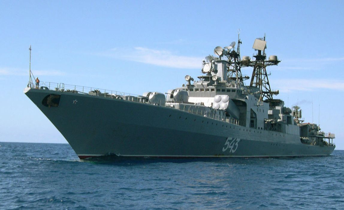 Russia navy russian warship ship war red star Marshal Shaposhnikov face droite 4000x2439 wallpaper