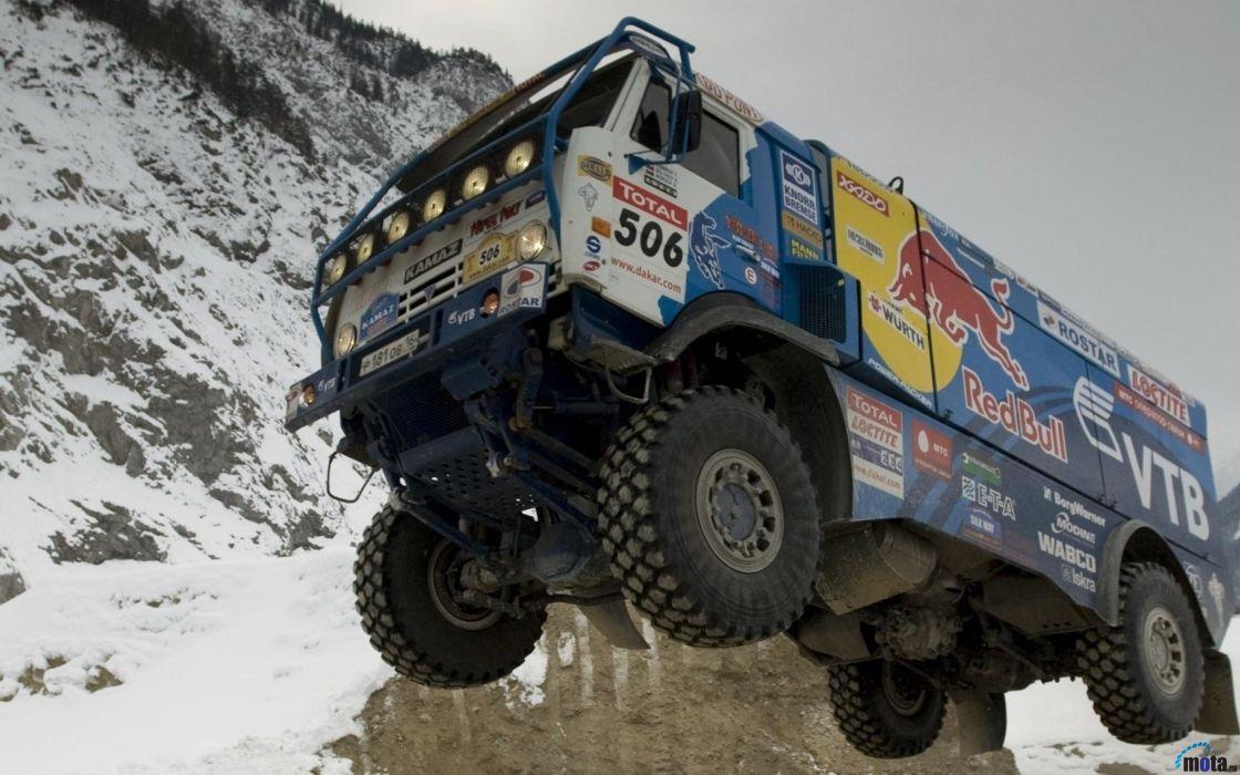 red-bull dakar rally russian kamaz race truck desert racing sand 4000x2500 wallpaper
