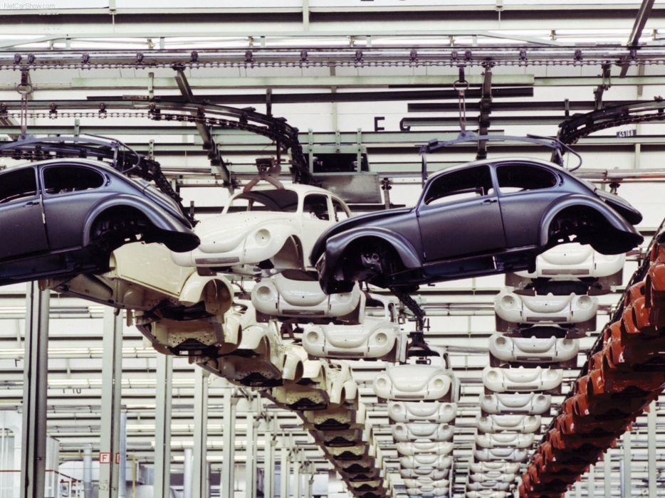 volkswagem beetle car classic retro popular industrial production-line wallpaper