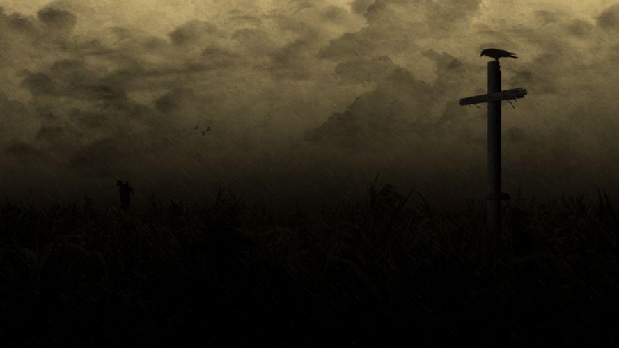 horror creepy cross dark Raven country field wallpaper