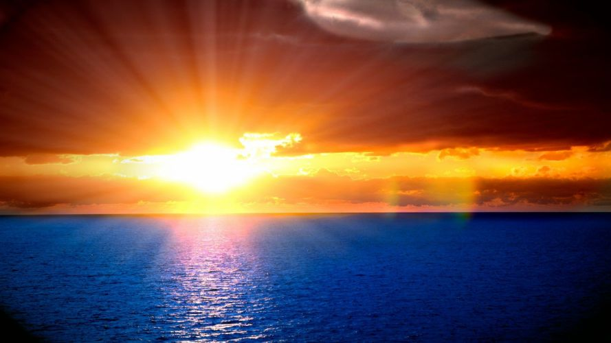 Sun oceans skies wallpaper