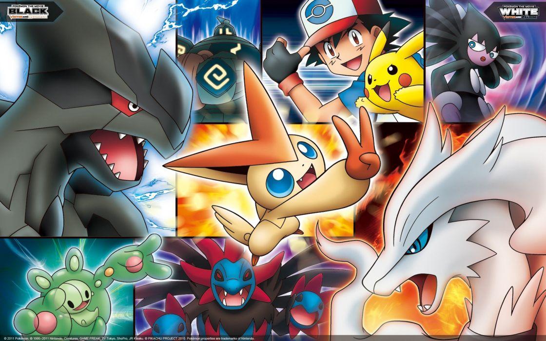Pokemon Pikachu Ash Ketchum Zekrom Reshiram Victini wallpaper