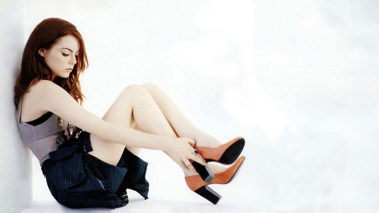 brunettes legs women skirts Emma Stone high heels necklaces denim clothing denim skirts wallpaper