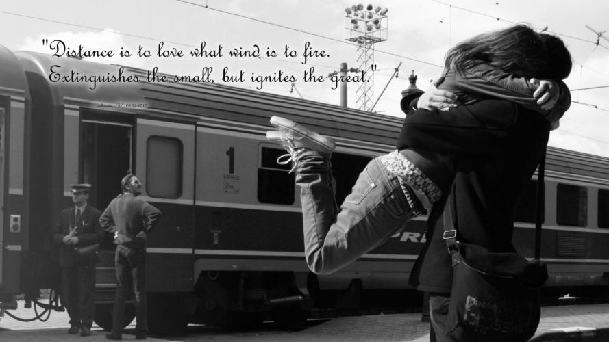 love quotes trains couple grayscale vehicles hugging wallpaper