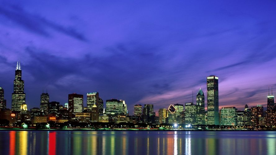 landscapes cityscapes Chicago night skyscapes night landscapes wallpaper