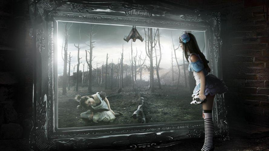 women Alice in Wonderland fantasy art artwork overknee socks striped legwear wallpaper