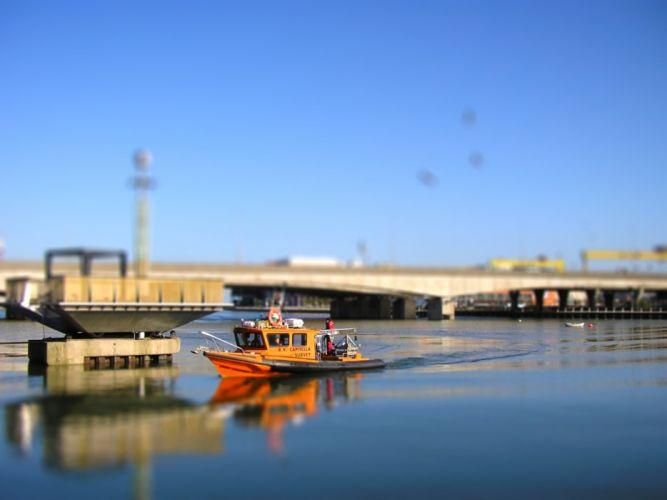 water ships bridges tilt-shift Belfast wallpaper