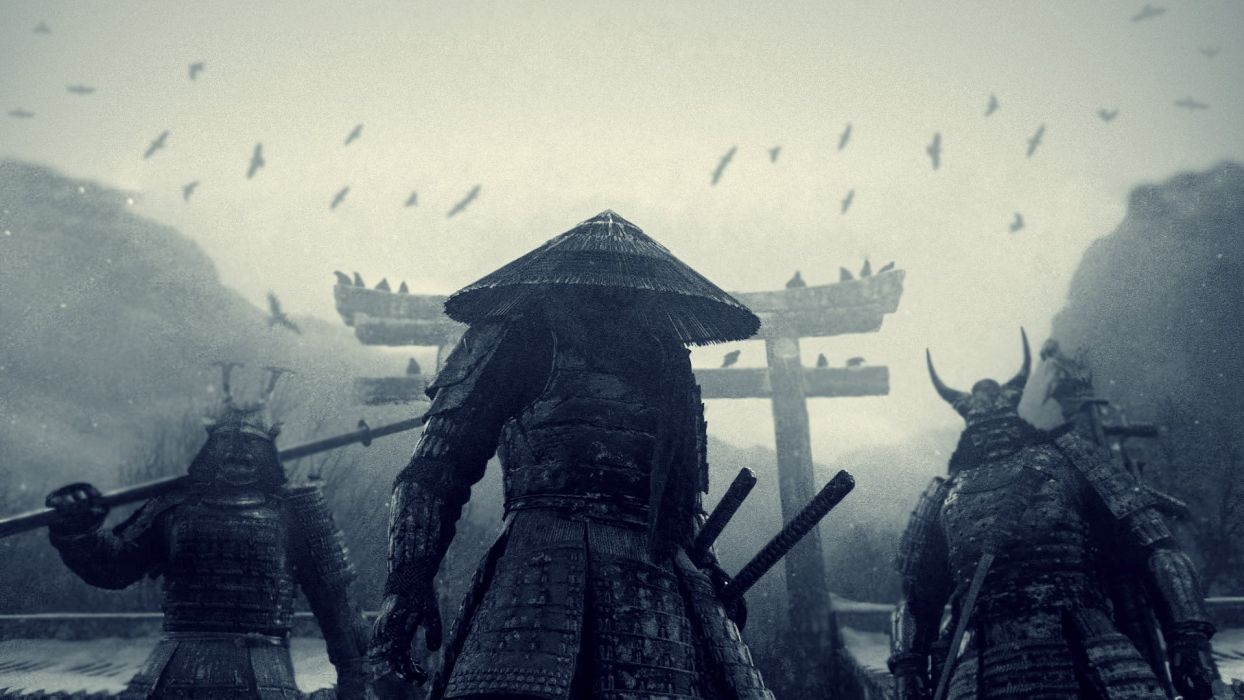 Japan movies monsters katana samurai pagodas Sucker Punch conical hats wallpaper