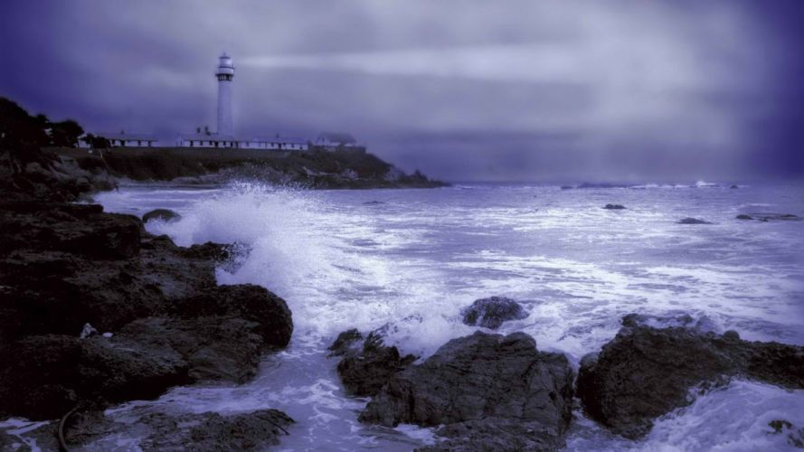 light station storm point weather California wallpaper