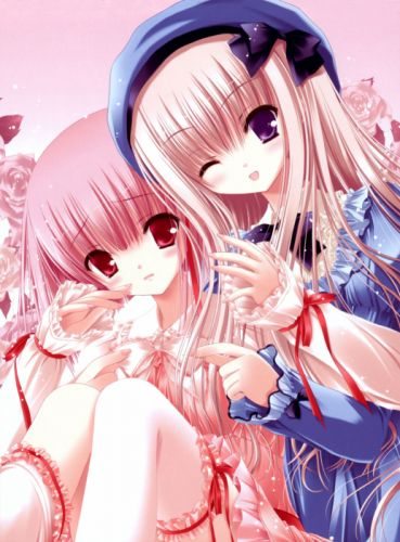 blondes lolitas pink hair red eyes anime purple eyes lolita fashion Tinkle Illustrations roses anime girls wallpaper