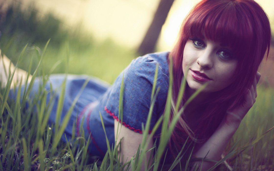 women redheads grass Loriel Andrea Garrett Meyers wallpaper