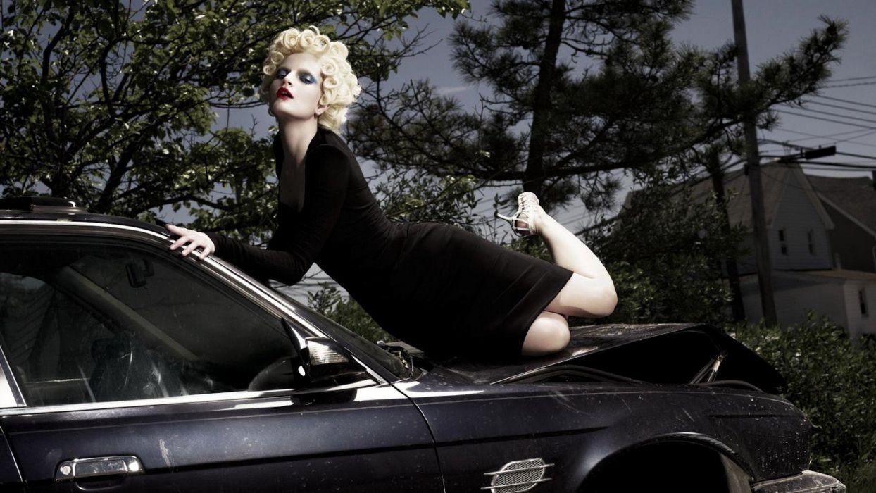 blondes women models fashion curly hair  fashion photography Guinevere Van Seenus black cars wallpaper