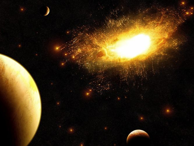 outer space multicolor stars planets gold bright wallpaper