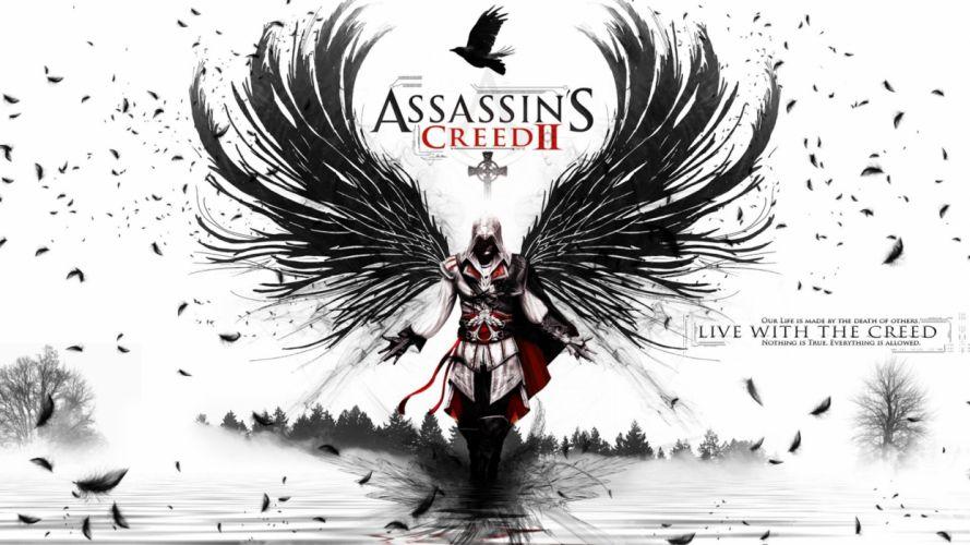 video games wings Assassins Creed feathers Ezio Auditore da Firenze wallpaper