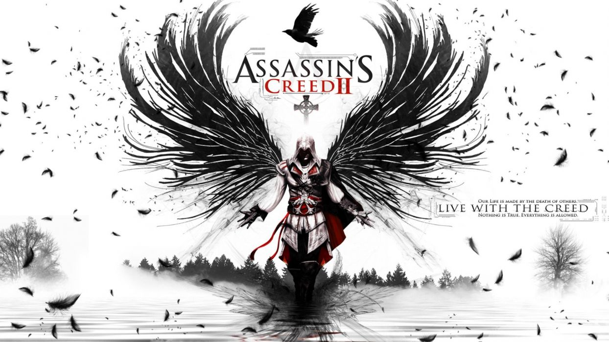 video games wings Assassins Creed feathers Ezio Auditore da Firenze wallpaper