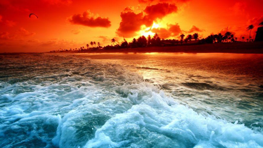 sunset ocean magical wallpaper