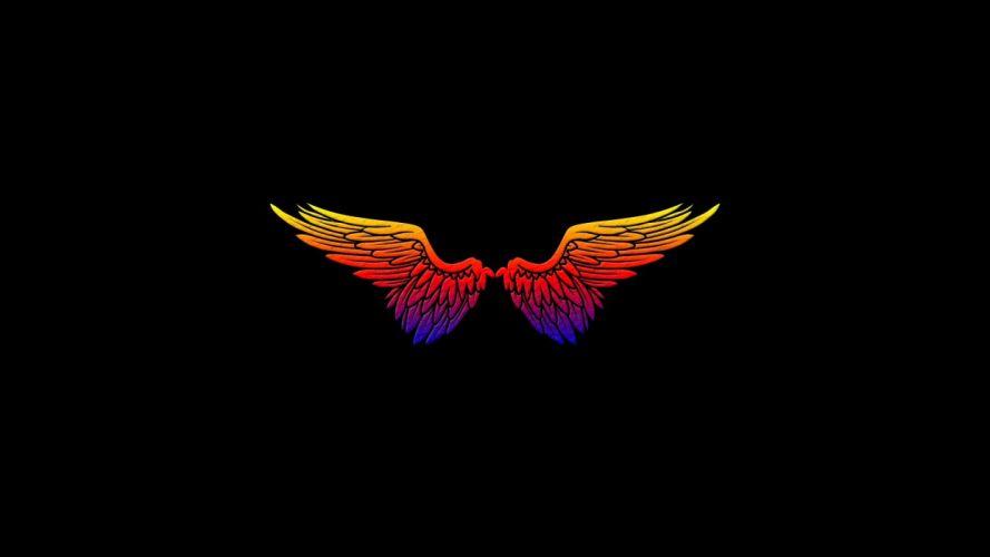 angels wings black minimalistic simple wallpaper