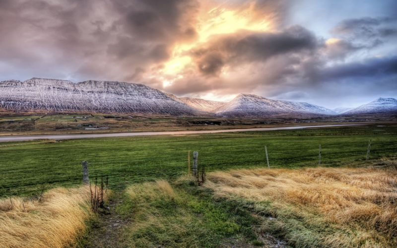 mountains HDR photography wallpaper