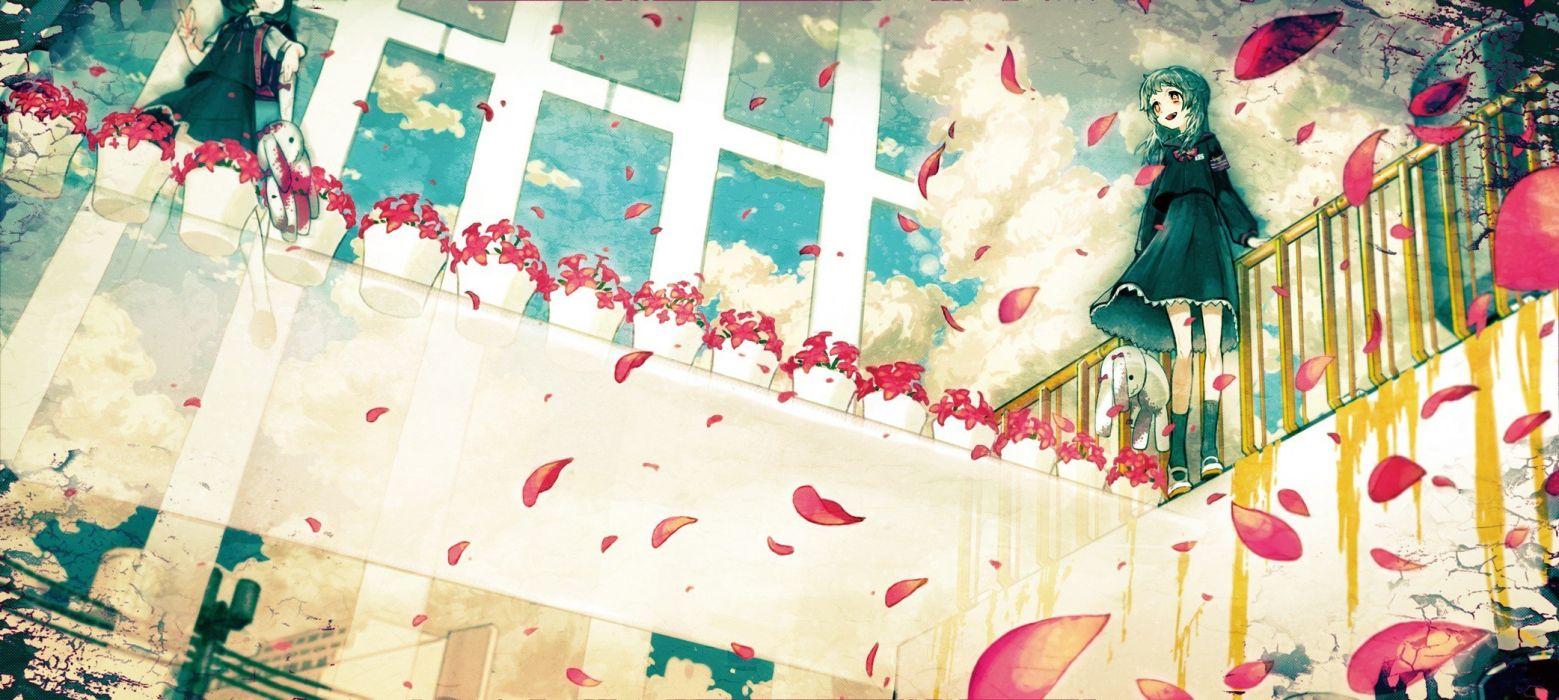 bunnies flowers anime girls red flowers pink flowers asgr wallpaper
