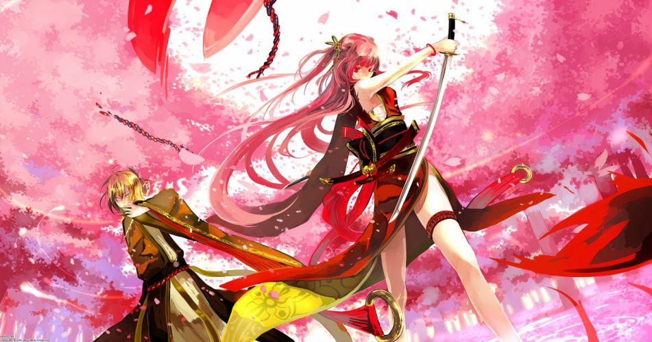 blondes cherry blossoms blue eyes redheads weapons red eyes flower petals Japanese clothes swords low-angle shot wallpaper