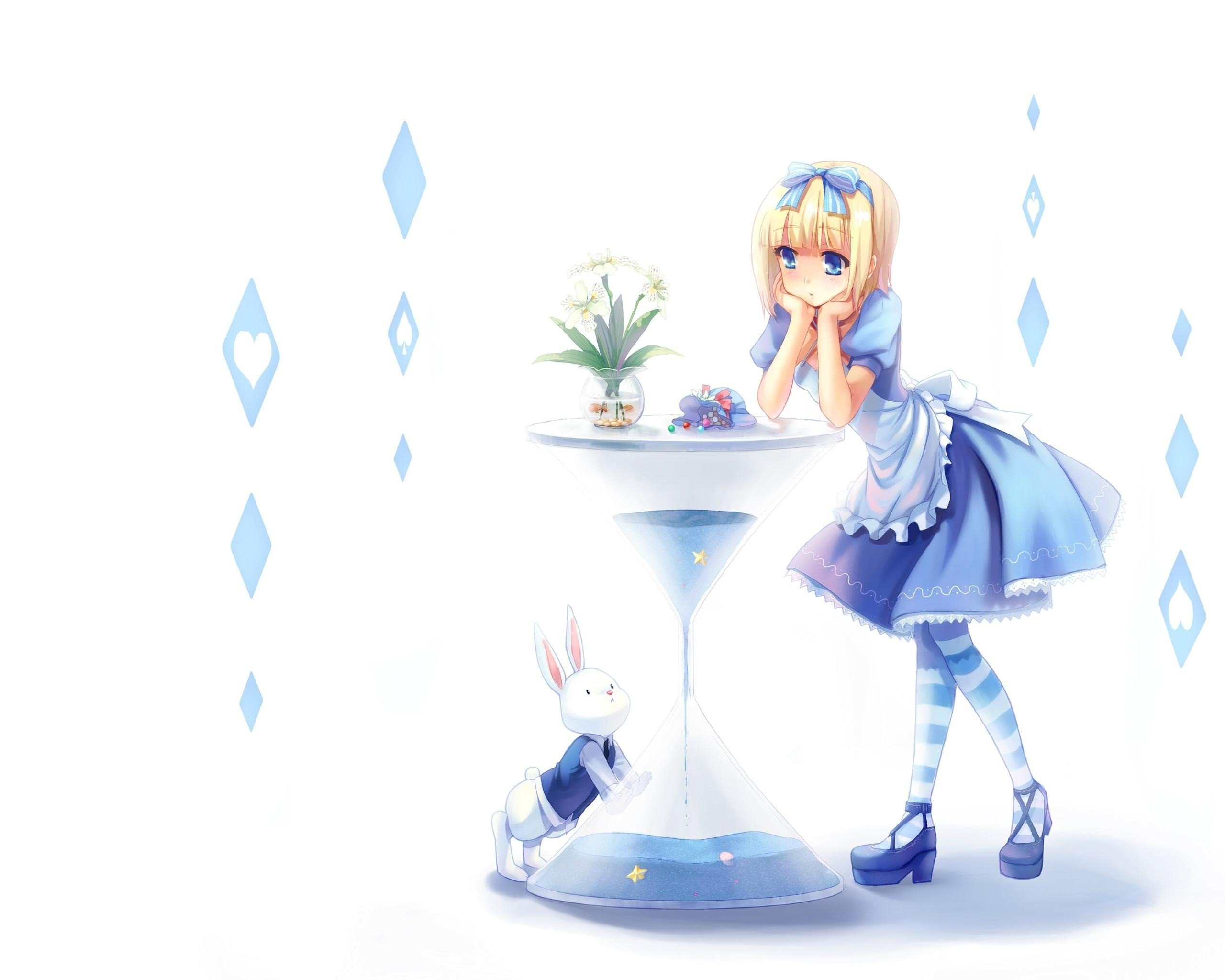 Dress Alice In Wonderland Simple Background Anime Girls
