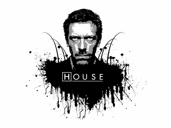 black and white Hugh Laurie Gregory House House M_D_ wallpaper