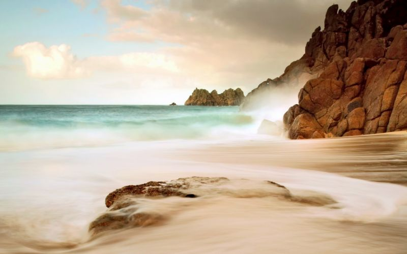 clouds landscapes nature coast waves wallpaper