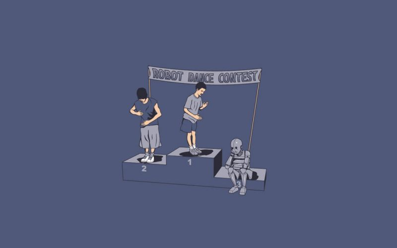 minimalistic robot funny dance poor simple background wallpaper