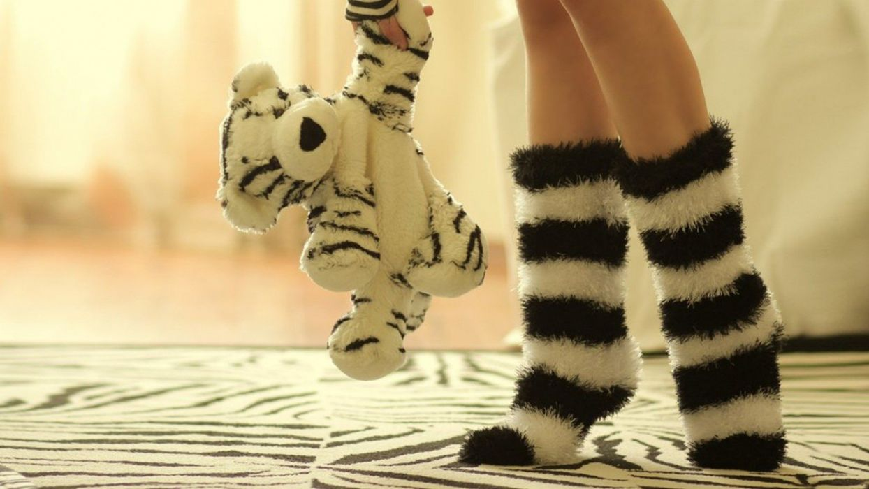 legs socks plush animal striped legwear wallpaper